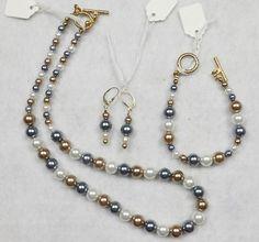 3 Piece PEARLESCENT Set Pendant Necklace Earrings Bracelet Beaded Set GREY GOLD