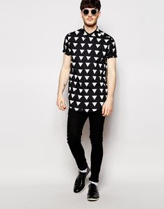 Image 4 of ASOS Longline Shirt With Short Sleeves And Triangle Print