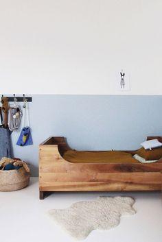 Modern wooden twin bed frame   Tessa Hop kidsroom nursery