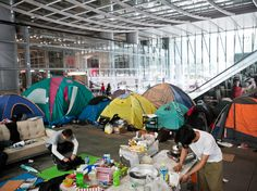 The pro-democracy protesters in Hong Kong have put up a final show of resistance. The anarchists, meanwhile, have always seen their fight as a long-term one, and a part of their daily lives. (Above: Tents set up by Occupy Hong Kong protesters under the HSBC building in November, 2011. Photograph by Thomas Lee/Bloomberg via Getty)