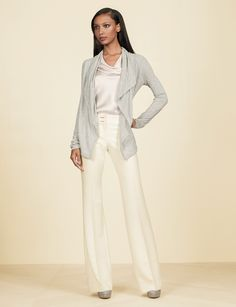 Our soft and silky fabrics are essential in capturing Olivia Pope's style. Create this look with our Shawl Collar Lounge Cardigan, Crossover Neck Shell Top, and 'Liv' Flare Leg Trouser Pants from The Limited Collection Inspired by Scandal. #ScandalStyleTheLimited