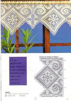 crochet home: Curtains Irish Crochet Patterns, Filet Crochet Charts, Crochet Motifs, Crochet Borders, Thread Crochet, Crochet Designs, Crochet Doilies, Crochet Curtain Pattern, Crochet Curtains