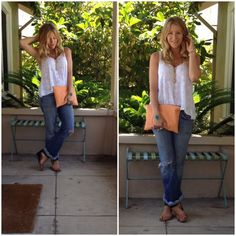 Wednesday//Swap Meet Jeans: Seven-10 years old Tank: Made by me Shoes: Nine West Clutch: Block and Battaglia