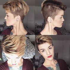 Asymmetrical pixie cut for dark blonde hair