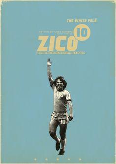 zico 10 - sucker for soccer - zoran cucic' - 2011 Retro Football, Football Art, Football Icon, World Football, School Football, Vintage Football, Soccer Art, Soccer Poster, Poster S