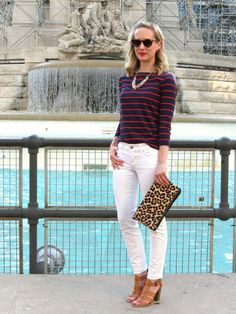 white denim, navy striped nautical tee, leopard foldover clutch, block heel sandals