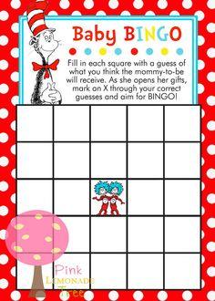Dr. Seuss Cat in the Hat Baby BINGO game for by PinkLemonadeTree, $3.00