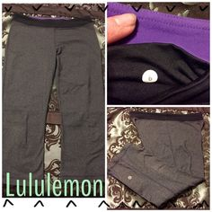 """LULULEMON DARK GRAY/BLACK CROPS-PERFECT CONDITION! Dark steel gray Lululemon Athletica slit back capris-inseam is 21"""". The inside has the regular small pocket & drawstring waist in contrasting bright purple. These have absolutely no wear-there in perfect condition! No holes, pilling, stains, etc. Pic #3 shows the back slits which start @ the bottom hem & go up approximately 5.5"""". Gusset of course-also no pilling in that area either! Lulu emblem on the back of leg as usual. Bag goes w/these…"""