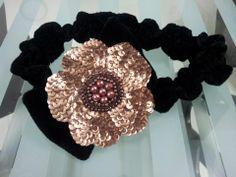 velvet head band with sequined bronze flower