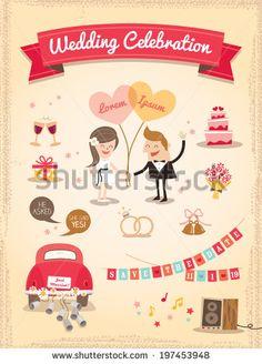 Set of Wedding cartoon design elements vector - stock vector