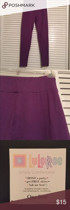 Lularoe OS Leggings, medium purple, NWT Lularoe OS leggings in a pretty medium purple color. NWT never worn. Soft and comfy! LuLaRoe Pants Leggings