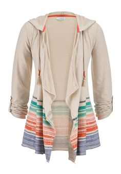 striped bottom blanket cardigan with hood maurices