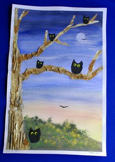 Practice impressionist style painting for background and then add textured tree with paper scraps.  Use blotting technique for moon.  Add cutout owls.