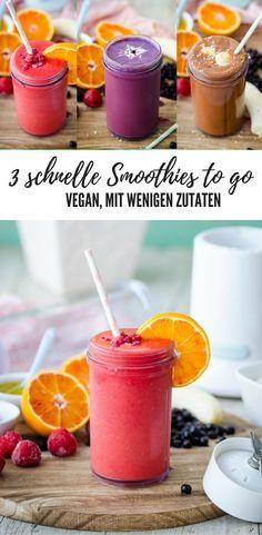 3 schnelle Smoothies to go - alle vegan und aus wenigen Zutaten. Erdbeer-Orange; Schoko-Banane-Orange und Heidelbeer-Joghurt.