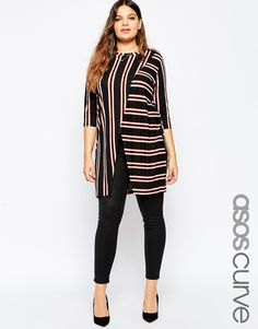 ASOS+CURVE+Wrap+Front+Tunic+in+Stripe
