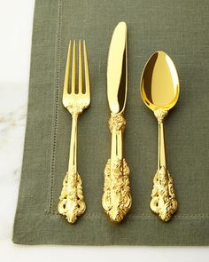 65-Piece Gold 20th-Century Baroque Flatware Service by Godinger at Neiman Marcus.
