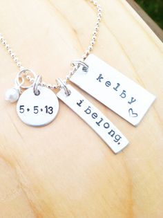 LDS baptism necklace personalized I belong by threechickscouture, $25.00