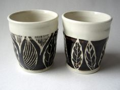 black and white leaf cups