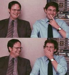 Rainn Wilson and John Krasinski. The Office The Office Jim, The Office Show, The Office Dwight, The Office Serie, Creed The Office, Dundee, Office Jokes, Office Wallpaper, Funny Iphone Wallpaper