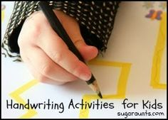 Handwriting activities, tips, and tricks for kids. Includes pre-handwriting activities for pre-writers. By Sugar Aunts #handwriting