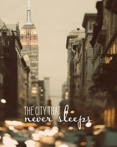 Midtown Manhattan at Night, NYC Art, Brown, Neutral Colors, New York Photography, Car Lights, Text, Typography - Never Sleep