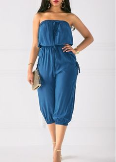 Strapless Drawstring Waist Pocket Navy Blue Jumpsuit on sale only US$36.32 now, buy cheap Strapless Drawstring Waist Pocket Navy Blue Jumpsuit at liligal.com