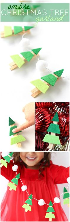 I have rounded up 20 easy #DIY #Christmas #crafts to try this Christmas that will really blow your mind and you will love to try them out!Ombre Christmas Tree Garland