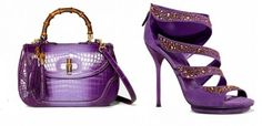 Gucci shoes - purple and gold, matching evening bag.