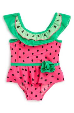 Sol Swim Watermelon Print One-Piece Swimsuit (Baby Girls)