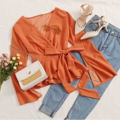 To find out about the Split Bell Sleeve Wrap Belted Peplum Top at SHEIN, part of our latest Blouses ready to shop online today! Girls Fashion Clothes, Teen Fashion Outfits, Mode Outfits, Trendy Fashion, Girl Fashion, Girl Outfits, Cute Casual Outfits, Pretty Outfits, Stylish Outfits