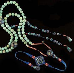 Chinese Court Beads [Collier Très important collier en turquoise et argent émaillé bleu Argent.......