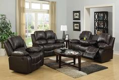 Bring classic style to your home with this beautiful Ugalde 3 Piece Living Room Set. With buttery soft bonded leather with superior stitch detailing these sofas are designed for optimal comfort. The sofas Couch And Loveseat, Couch Set, Sectional Sofa, Recliner, 3 Piece Living Room Set, Living Room Sets, Big Cushions, Front Rooms, Furniture Makeover