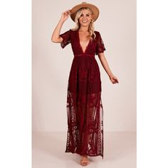 Love Spell Maxi dress in wine ❤ liked on Polyvore featuring dresses, pink dress, short-sleeve dresses, wine dress, short sleeve maxi dress and wine maxi dress