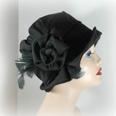 Womens Cloche Hat The Alice in Black Linen with by TheWaughdrobe
