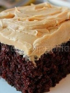 Homemade Chocolate Cake w/ Peanut Butter Frosting