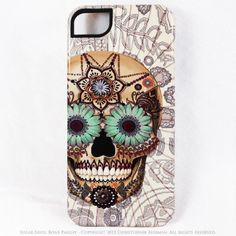 Sugar Skull iPhone 5 Tough Case – Dia De Los Muertos Bone Paisley Artwork.   I just love this unique design of the TOUGH iPhone case designed with a sugar skull and Dia De Los Muertos bone paisley artwork. It is fresh, colorful, edgy and fun. The unusual graphic art will catch your attention.