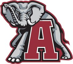Alabama Crimson Tide Primary Logo (2002) - A grey elpahant in back of a red A