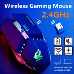 Freewolf X11 1600DPI 2.4GHz Wireless Mute Rechargeable Mouse LED Backlit Optical Gaming Mice Pose, Desktop, Gaming, Office And School Supplies, Laptop Accessories, Computer Mouse, Led, Pc Mouse, Videogames