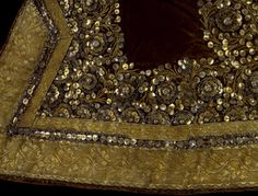 Minister's military court costume consisting of a robe, jacket and collar of embroidered velvet and silk, Burma, ca. Museum Number to Military Costumes, Court Dresses, Gold Fabric, Gold Embroidery, Gold Work, Ancient Jewelry, Victoria And Albert Museum, Beaded Flowers, Fashion Details
