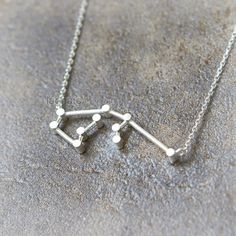 $16- Aquarius Zodiac Sign Necklace / silver plated brass or by laonato
