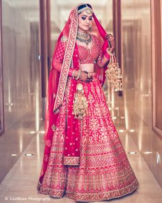 10 Bridal Red Lehengas that will make you wish you were getting married tomorrow Pink Bridal Lehenga, Indian Wedding Lehenga, Wedding Lehenga Designs, Indian Wedding Wear, Designer Bridal Lehenga, Indian Bridal Outfits, Indian Bridal Fashion, Pink Lehenga, Sabyasachi Wedding Lehenga