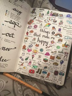 Bullet Journal doodles | drawing inspiration | journal drawings \ things that make me happy drawings
