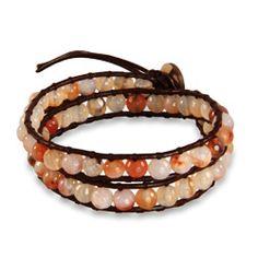 Chen Rai Genuine Rose Agate Brown Wrap Bracelet #chenrai #agate #rose #pink #brown #wrapbracelets