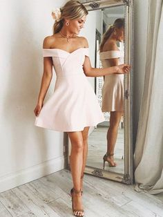 off the shoulder simple pink satin homecoming dress, pink satin ruched short prom dress Light Pink Homecoming Dresses, Mini Prom Dresses, Hoco Dresses, Satin Dresses, Cheap Dresses, Sexy Dresses, Evening Dresses, Dress Prom, Spring Formal Dresses