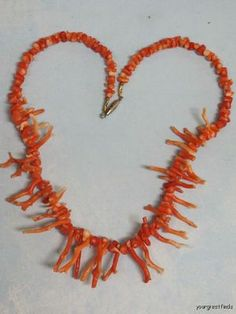 "Vintage 1970's 18"" Long Natural Red Branch Coral Necklace 