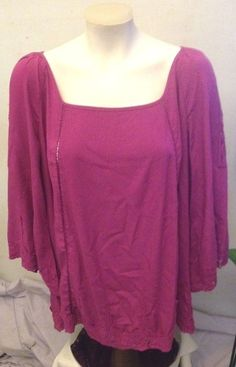 SOLITAIRE Purple Square Neck Blouse with Embroidered Trim 3/4 Sleeve Size 1X NEW #Solitaire #Blouse #Versatile
