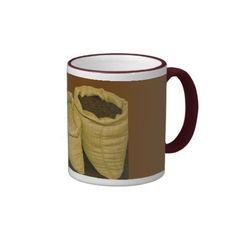 coffee beans in burlap sack mug