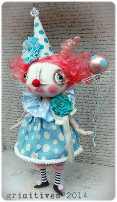 Primitive Original Art Doll Clown - Corabelle by doll artist Kaf Grimm of GRIMITIVES