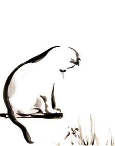 Cat art print, minimalist cat fine art print, black and white cat art, modern minimalist watercolor print, cat painting art print Cat Print Minimalist Cat Painting Watercolor Painting Art Ink Painting, Watercolor Paintings, Painting Tattoo, Watercolors, Art Original, Original Paintings, Watercolor Cat, Tattoo Watercolor, Cat Art Print