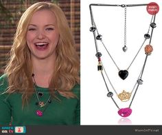 Liv's heart, crown and lips necklace on Liv and Maddie.  Outfit Details: http://wornontv.net/48072/ #LivandMaddie